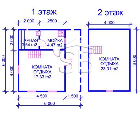 Проект брусовой бани 6х6 (B-16)