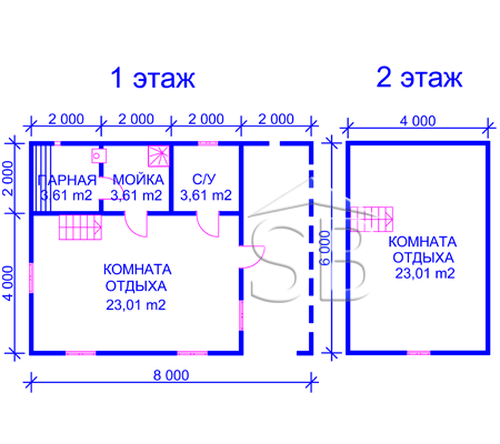 Проект брусовой бани 6х8 (B-17)