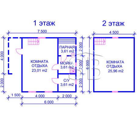 Проект брусовой бани 6х7.5 (B-18)
