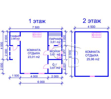 Проект брусовой бани 6х7.5 (B-19)