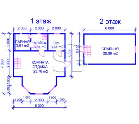 Проект брусовой бани 6х7 (B-20)