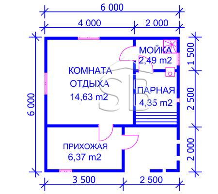 Проект брусовой бани 6х6 (В-22)