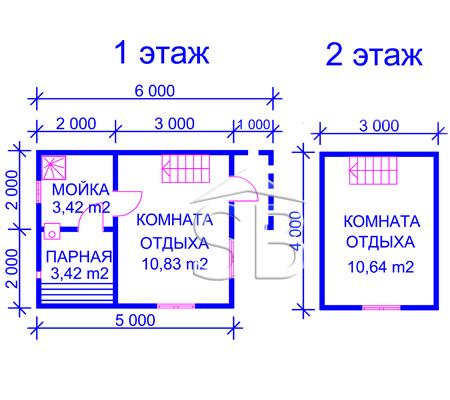Проект брусовой бани 5х4 (B-25)