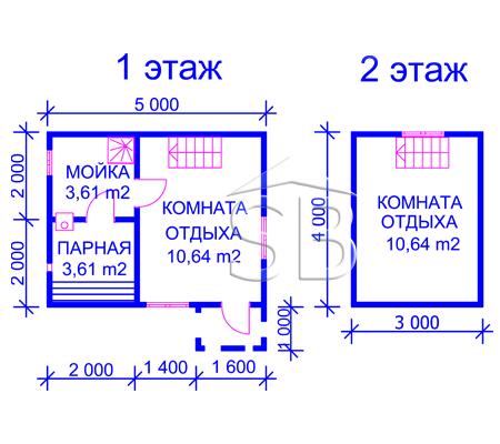 Проект брусовой бани 4х5 (В-26)