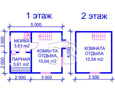 Проект брусовой бани 4х5 (В-27)