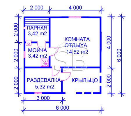 Проект брусовой бани 6х6 (В-28)
