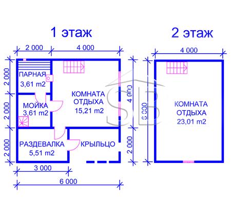 Брусовая баня 6х6 (P-35)