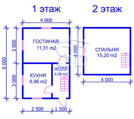 Проект деревянного дома 6х4 (D-1)