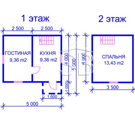 Проект деревянного дома 4х5 (D-3)
