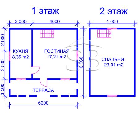 Проект деревянного дома 6х6 (D-9)