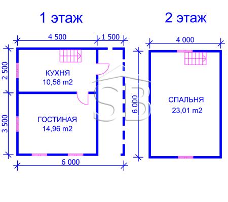 Проект деревянного дома 6х6 (D-10)