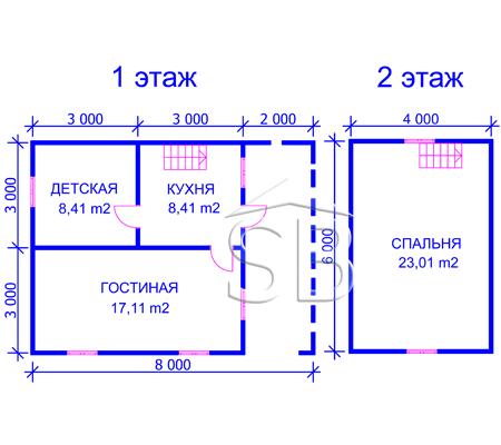 Проект деревянного дома 6х8 (D-11)