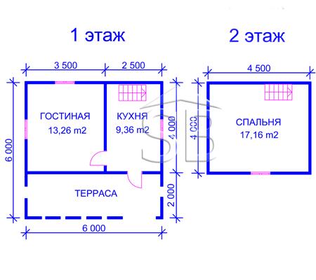 Проект деревянного дома 6х6 (D-12)