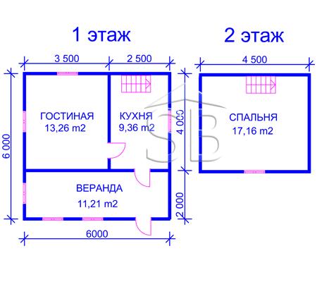 Проект деревянного дома 6х6 (D-13)