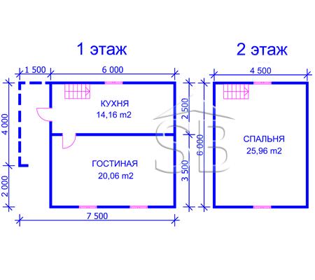 Проект деревянного дома 6x7.5 (D-14)