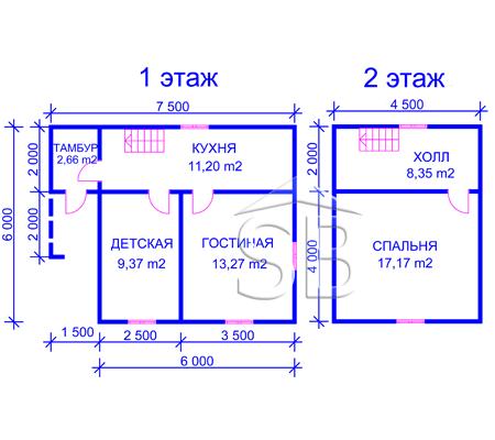 Проект деревянного дома 6х7.5 (D-15)