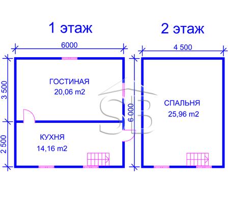 Проект деревянного дома 6х6 (D-17)