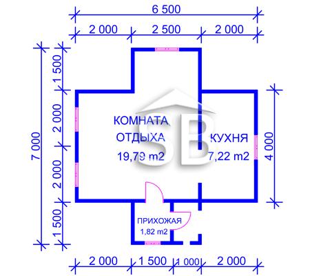 Проект деревянного дома 6.5х7 (D-21)