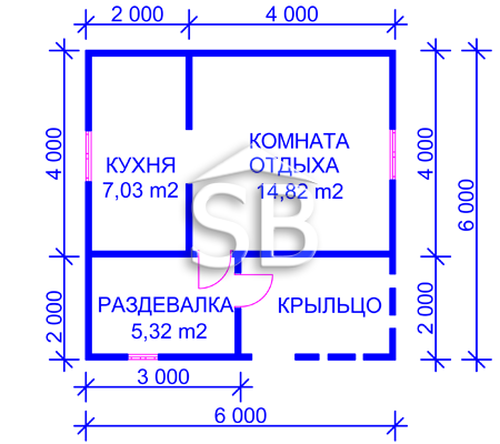 Проект деревянного дома 6х6 (D-22)