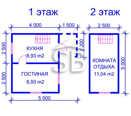 Проект деревянного дома 5х5.5 (D-25)