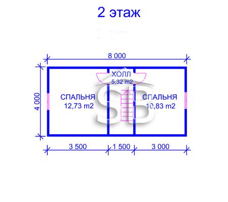 Проект деревянного дома 7.5х8 (D-26)