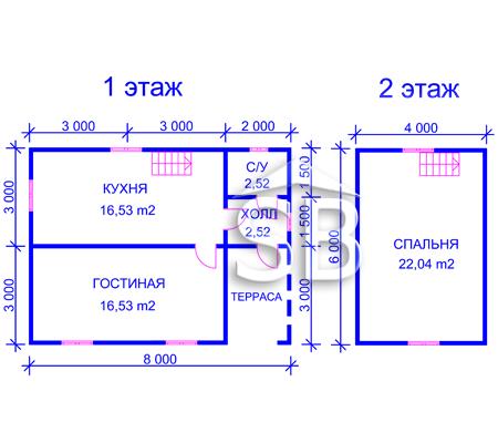 Проект деревянного дома 6х8 (D-27)