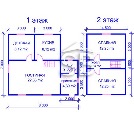 Проект деревянного дома 7х8 (D-28)