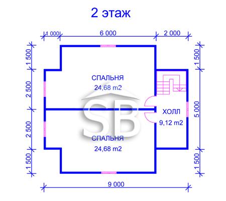 Проект деревянного дома 8х9 (D-29)