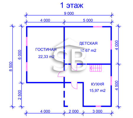Проект деревянного дома 8.5х9 (D-32)