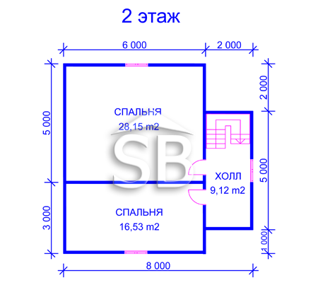 Проект деревянного дома 8х8 (D-34)
