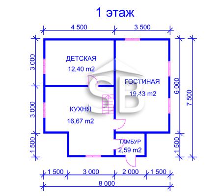 Проект деревянного дома 7.5х8 (D-35)