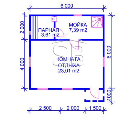 Каркасно-щитовая баня 6х6 (P-28) от компании СБ-Строй